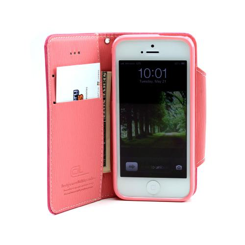 Apple iPhone SE / 5 / 5S Wallet Case,  [Hot Pink/ Baby Pink]  Kickstand Feature Luxury Faux Saffiano Leather Front Flip Cover with Built-in Card Slots, Magnetic Flap