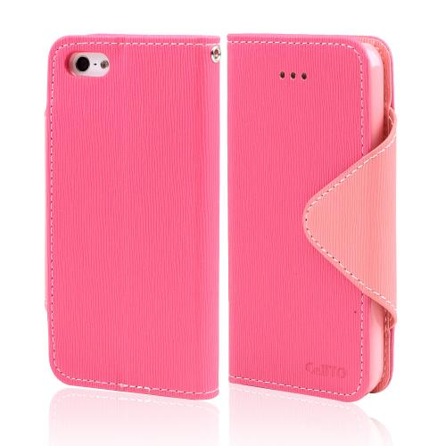Hot Pink/ Baby Pink Faux Leather Diary Flip Case w/ ID Slots & Bill Fold for Apple iPhone 5/5S