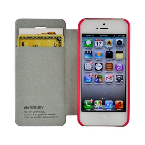 Hot Pink Mercury Nylon Fancy Diary Case w/ ID Slot for Apple iPhone 5/5S