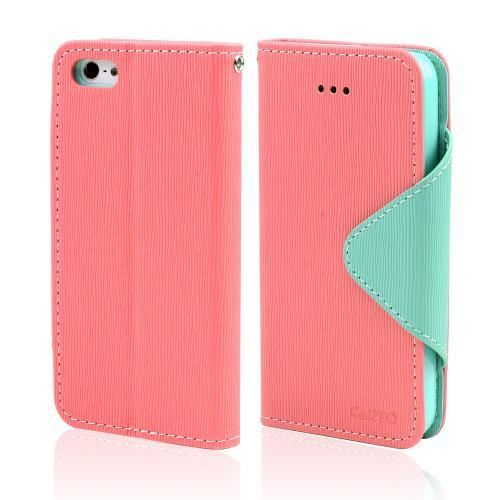 Light Melon/ Mint Faux Leather Diary Flip Case w/ ID Slots & Bill Fold for Apple iPhone 5/5S