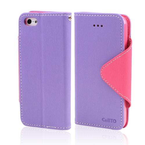 Lavender/ Baby Pink Faux Leather Diary Flip Case w/ ID Slots & Bill Fold for Apple iPhone 5/5S