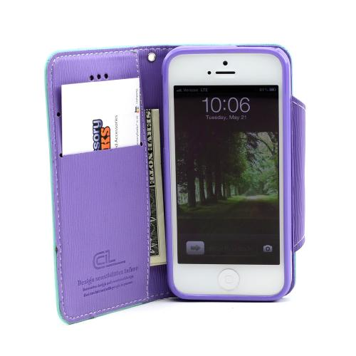 Mint/ Lavender Faux Leather Diary Flip Case w/ ID Slots, Bill Fold, & Magnetic Closure for Apple iPhone 5/5S