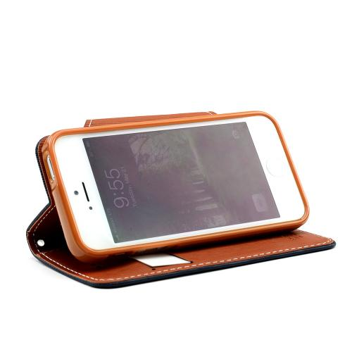 Navy Blue/ Brown Exclusive Faux Leather Diary Flip Case w/ ID Slots & Bill Fold for Apple iPhone 5/5S
