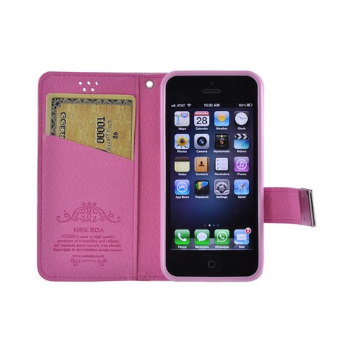 Apple iPhone SE / 5 / 5S Wallet Case,  [Pink] Milky Series Kickstand Feature Luxury Faux Saffiano Leather Front Flip Cover with Built-in Card Slots, Magnetic Flap