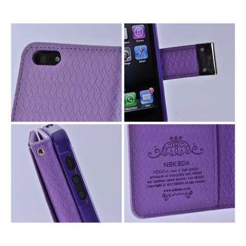 Apple iPhone SE / 5 / 5S Wallet Case,  [Purple] Milky Series Kickstand Feature Luxury Faux Saffiano Leather Front Flip Cover with Built-in Card Slots, Magnetic Flap