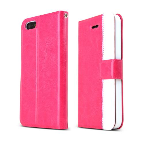 [REDShield] Hot Pink/ White Apple iPhone 5/5S Wallet Case Hard Cover [Plastic/ Faux Leather]; Perfect fit as Best Coolest Premium Design Cases w/ Credit Card Slots, Stand Function + Magnetic Closure