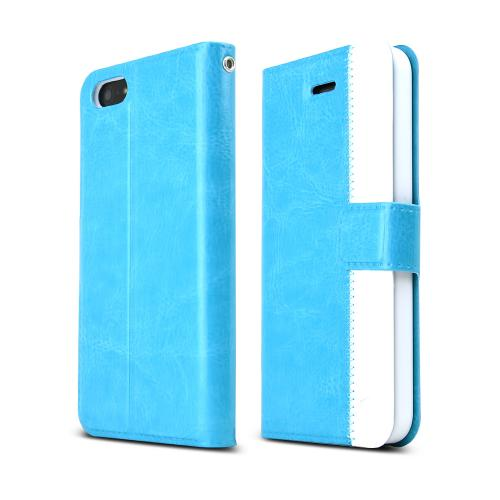 [REDShield] Turquoise/ White Apple iPhone 5/5S Wallet Case Hard Cover [Plastic/ Faux Leather]; Perfect fit as Best Coolest Premium Design Cases w/ Credit Card Slots, Stand Function + Magnetic Closure