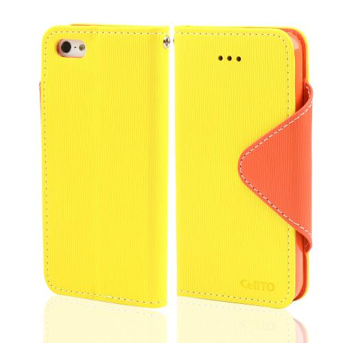 Yellow/ Orange Faux Leather Diary Flip Case w/ ID Slots & Bill Fold for Apple iPhone 5/5S