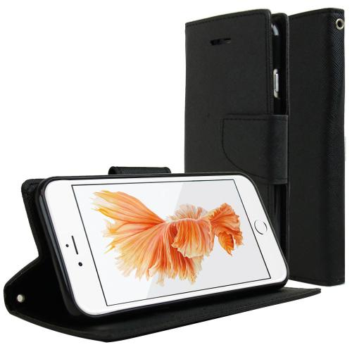 Black Faux Leather Diary Flip Case w/ ID Slots, Bill Fold, & Magnetic Closure Made for iPhone 6 (4.7 inch) - Keep Everything You Need in 1 Place!