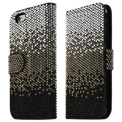 Apple iPhone 6/ 6S Case,  [Black] Bling Waterfall Diamond Kickstand Feature Luxury Faux Saffiano Leather Front Flip Cover with Built-in Card Slots, Magnetic Flap