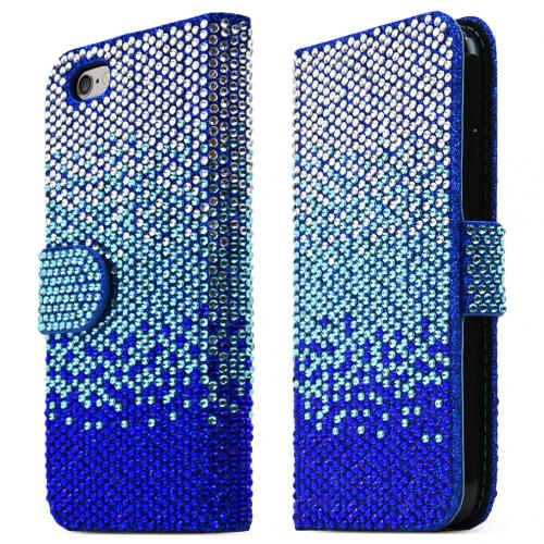 Apple iPhone 6/ 6S Case,  [Blue] Bling Waterfall Diamond Kickstand Feature Luxury Faux Saffiano Leather Front Flip Cover with Built-in Card Slots, Magnetic Flap