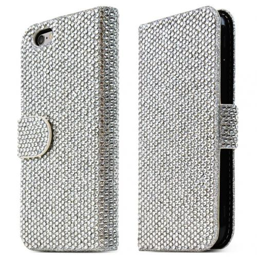[Apple iPhone 6/ 6S (4.7 inch)] Case,  [Silver] Bling Waterfall Diamond Kickstand Feature Luxury Faux Saffiano Leather Front Flip Cover with Built-in Card Slots, Magnetic Flap