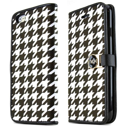 Apple iPhone 6/ 6S Case,  [Black/White Houndstooth]  Kickstand Feature Luxury Faux Saffiano Leather Front Flip Cover with Built-in Card Slots, Magnetic Flap