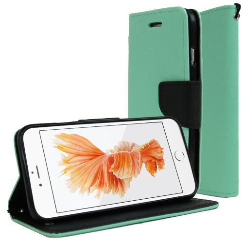 Apple iPhone 6/ 6S Case, REDshield [Mint/ Black]  Kickstand Feature Luxury Faux Saffiano Leather Front Flip Cover with Built-in Card Slots, Magnetic Flap