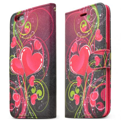 Apple iPhone 6 PLUS/6S PLUS (5.5 inch) Wallet Case,  [Hot Pink Heart]  Kickstand Feature Luxury Faux Saffiano Leather Front Flip Cover with Built-in Card Slots, Magnetic Flap