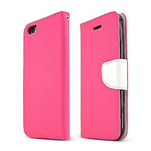 Apple iPhone 6 PLUS/6S PLUS (5.5 inch) Wallet Case,  [Hot Pink/ White]  Kickstand Feature Luxury Faux Saffiano Leather Front Flip Cover with Built-in Card Slots, Magnetic Flap