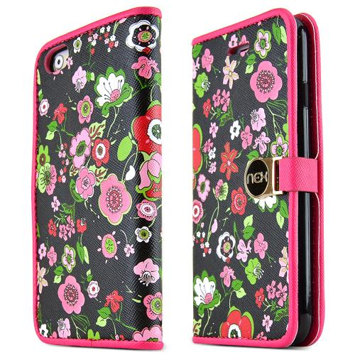 Apple iPhone 6/ 6S Case,  [Pink/ Green Flowers on Black]  Kickstand Feature Luxury Faux Saffiano Leather Front Flip Cover with Built-in Card Slots, Magnetic Flap