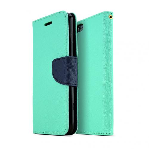 Apple iPhone 6 PLUS/6S PLUS (5.5 inch) Wallet Case,  [Mint/ Navy]  Kickstand Feature Luxury Faux Saffiano Leather Front Flip Cover with Built-in Card Slots, Magnetic Flap