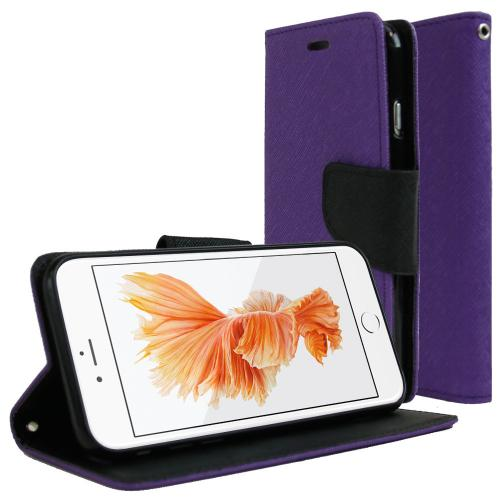Apple iPhone 6/ 6S Case, REDshield [Purple/ Black]  Kickstand Feature Luxury Faux Saffiano Leather Front Flip Cover with Built-in Card Slots, Magnetic Flap