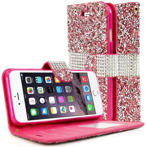 [Apple iPhone 7] (4.7 inch) Wallet Case, REDshield [Pink Shiny Sparkling Gem w/ Silver] Kickstand Feature Luxury Faux Saffiano Leather Front Flip Cover with Built-in Card Slots, Magnetic Flap