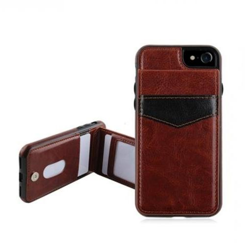 Apple iPhone 7 (4.7 inch) Case, Faux Leather Cover on TPU w/ Credit Card Stand Wallet Case [Brown]