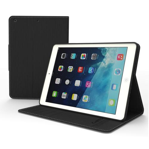 Black  Faux Leather Flip Case w/ ID Slots, Bill Fold, & Magnetic Closure for Apple iPad Air