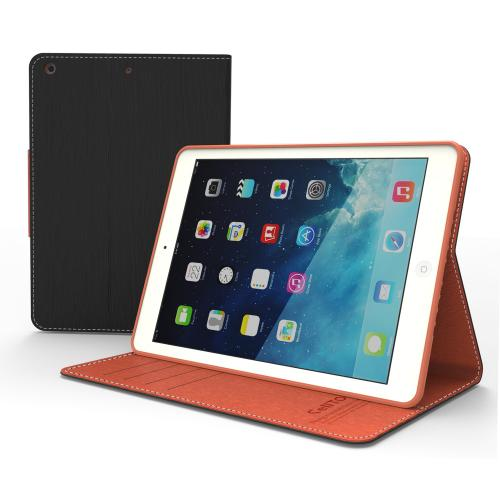 Black/ Brown  Faux Leather Diary Flip Case w/ ID Slots, Bill Fold, & Magnetic Closure for Apple iPad Air