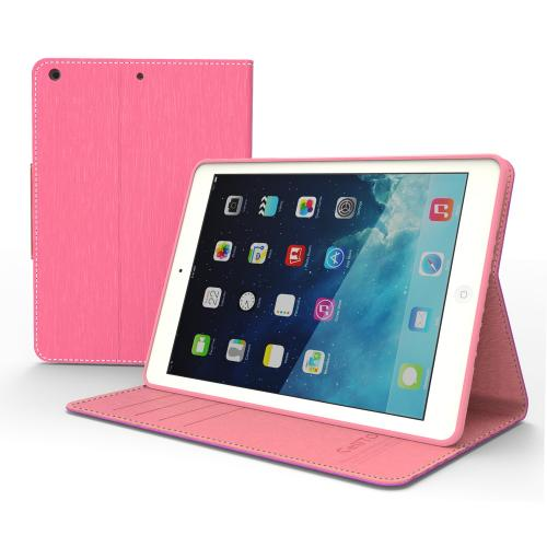 Manufacturers Hot Pink/ Baby Pink  Faux Leather Diary Flip Case w/ ID Slots, Bill Fold, & Magnetic Closure for Apple iPad Air Silicone Cases / Skins