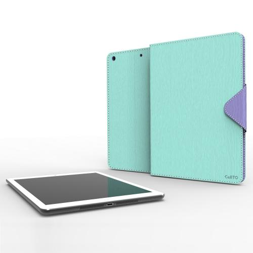 Mint/ Lavender Faux Leather Diary Flip Case w/ ID Slots, Bill Fold, & Magnetic Closure for Apple iPad Air