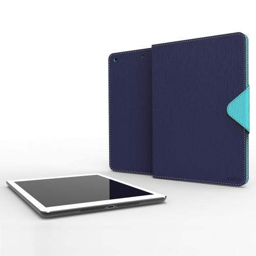 Navy/ Mint  Faux Leather Diary Flip Case w/ ID Slots, Bill Fold, & Magnetic Closure for Apple iPad Air