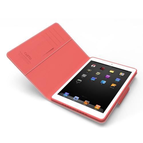 White/ Hot Pink  Faux Leather Diary Flip Case w/ ID Slots, Bill Fold, & Magnetic Closure for Apple iPad Air