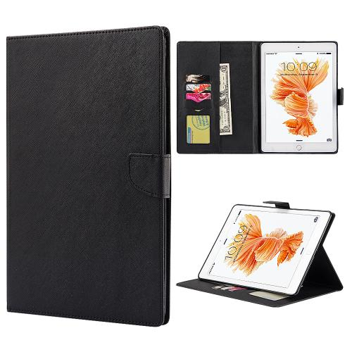 Apple iPad Pro (9.7 inch) Diary Case, [Black] Kickstand Feature Luxury Faux Saffiano Leather Front Flip Cover with Built-in Card Slots, Magnetic Flap