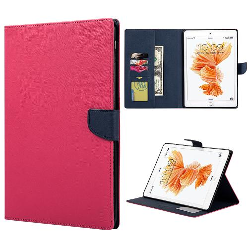 [Apple iPad Pro (9.7 inch)] Diary Case, [Hot Pink] Kickstand Feature Luxury Faux Saffiano Leather Front Flip Cover with Built-in Card Slots, Magnetic Flap