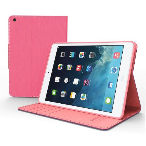 [Hot Pink/ Baby Pink] Faux Leather Diary Flip Case w/ ID Slots, Bill Fold, Magnetic Closure for Apple iPad Mini 1/2/3
