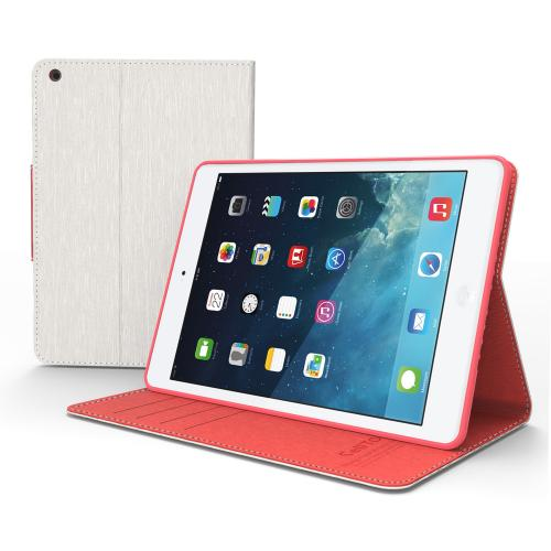 White/ Hot Pink Faux Leather Diary Flip Case w/ ID Slots, Bill Fold, Magnetic Closure for Apple iPad Mini 2