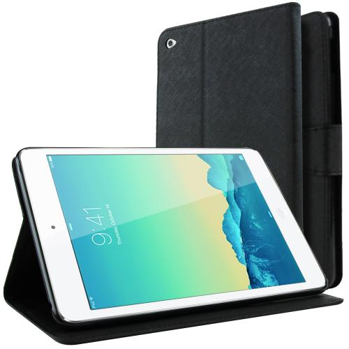 Apple iPad Mini 4 Case, [Black] Faux Leather Front Flip Cover Diary Wallet Case w/ Magnetic Flap