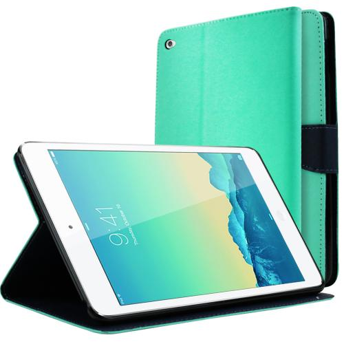 Apple iPad Mini 4 Wallet Case [Mint/ Navy] Featuring Faux Leather Flip Cover, ID Slots, Bill Fold & Snap Close Magnet