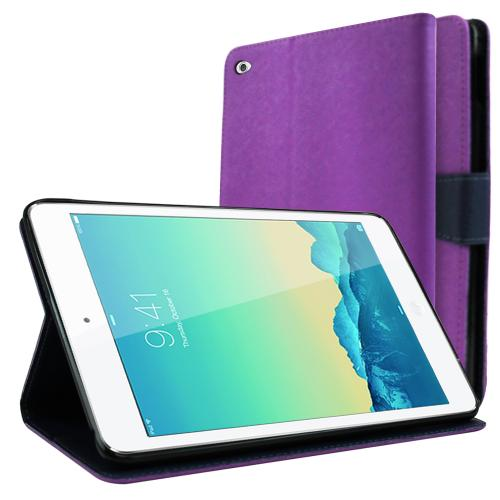 Apple iPad Mini 4 Wallet Case [Purple/ Navy] Featuring Faux Leather Flip Cover, ID Slots, Bill Fold & Snap Close Magnet