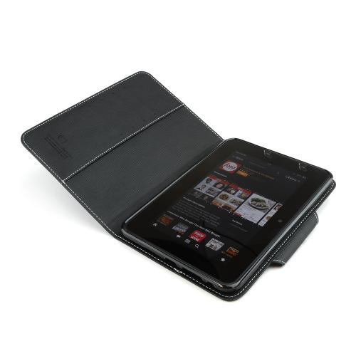 Black Faux Leather Diary Flip Case w/ ID Slots, Bill Fold, & Magnetic Closure for Amazon Kindle Fire HD 7 2012