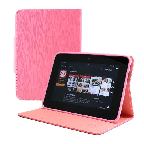 [Amazon Kindle Fire Hd 7] Hot Pink/ Baby Pink Cellto Faux Leather Diary Flip Case W/ Id Slots, Bill Fold, Snap Close Magnet & Free Screen Protector