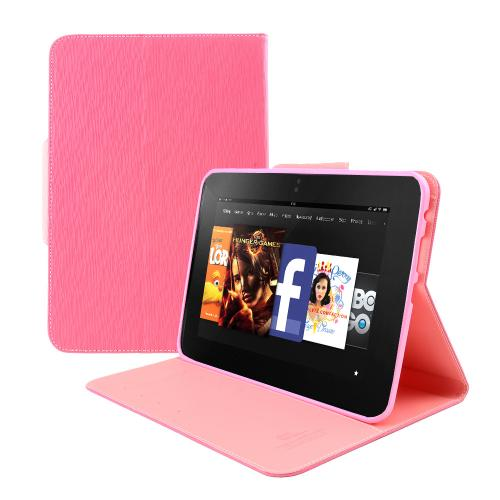 [Amazon Kindle Fire Hd 8.9] Hot Pink/ Baby Pink Cellto Faux Leather Diary Flip Case W/ Id Slots, Bill Fold, Snap Close Magnet & Free Screen Protector
