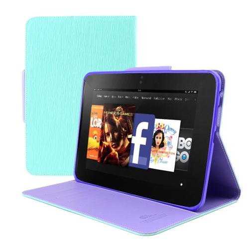 Mint/ Lavender Faux Leather Diary Flip Case w/ ID Slots, Bill Fold, & Magnetic Closure for Amazon Kindle Fire HD 8.9