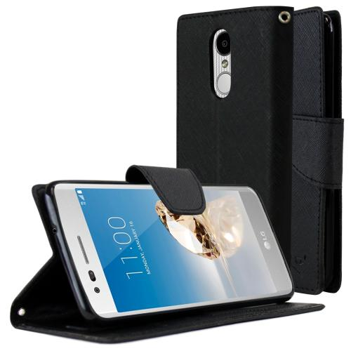 LG Aristo Case, REDshield Faux Leather Front Flip Cover Diary Wallet Case w/ Magnetic Flap [Black]