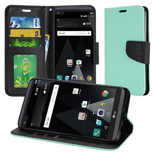 LG Aristo Case, Luxury Faux Leather Saffiano Texture Front Flip Cover Diary Wallet Case w/ Magnetic Flap [Mint/ Black]