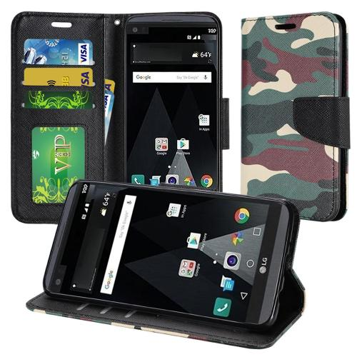 LG Aristo Case, Luxury Faux Leather Saffiano Texture Front Flip Cover Diary Wallet Case w/ Magnetic Flap [Military Camouflage]
