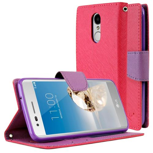 LG Aristo Case, REDshield Faux Leather Front Flip Cover Diary Wallet Case w/ Magnetic Flap [Hot Pink/ Purple]
