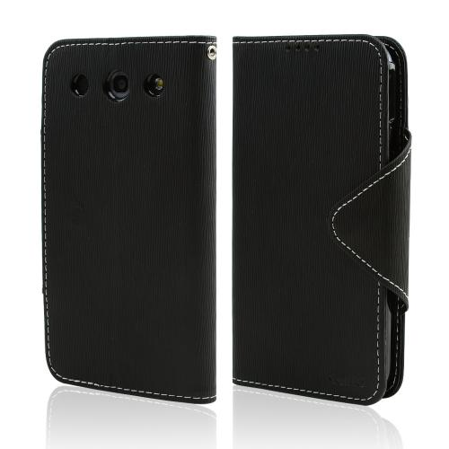 Black Faux Leather Diary Flip Case w/ ID Slots, Bill Fold, & Magnetic Closure for LG Optimus G Pro