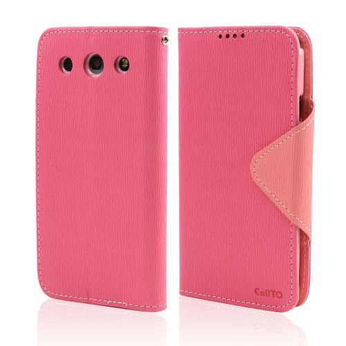 Hot Pink/ Baby Pink  Faux Leather Diary Flip Case w/ ID Slots, Bill Fold, & Magnetic Closure for LG Optimus G Pro