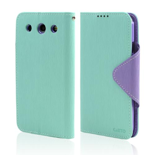 Mint/ Lavender Faux Leather Diary Flip Case w/ ID Slots, Bill Fold, & Magnetic Closure for LG Optimus G Pro
