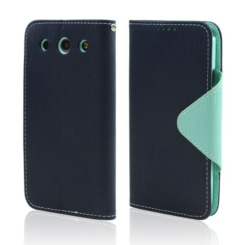 Navy Blue/ Mint Faux Leather Diary Flip Case w/ ID Slots, Bill Fold, & Magnetic Closure for LG Optimus G Pro